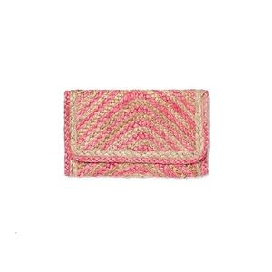 Express | Bright Pink Straw Foldover Clutch | NWT